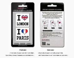 I love London & I love Paris 2-in-1 Microfiber Screen Cleaner Sticker for #phone #accessories #gifts #x-mas #batb #apple