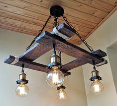 Wood Pendant Light, Industrial Pendant Lights, Rustic Chandelier, Pendant Lighting, Dining Chandelier, Rustic Lamps, Rustic Wood, Rustic Light Fixtures, Hanging Light Fixtures