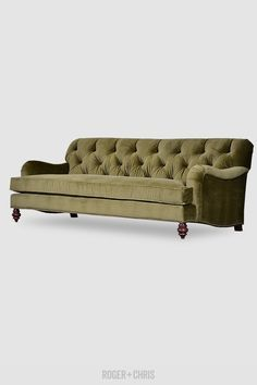 Alfie Sofas and Armchairs from Roger + Chris. Our tufted English roll-arm sofa in moss green velvet. Made in the U.S.A.