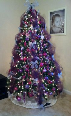 pinterest christmas tree pink purple and silver decorations | Our Christmas tree this year. Pink, Purple and Silver. ... | Holida…