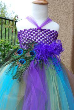 Items similar to Peacock and Ostrich Feather Tutu Dress on Etsy Peacock Flower Girl, Flower Girl Dresses, Wedding Stuff, Dream Wedding, Wedding Ideas, Feather Tutu, Peacock Wedding, Ostrich Feathers, Peacocks