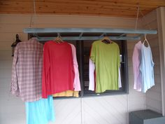 Hanging ladder on my front porch for drying clothes Mudroom Laundry Room, Laundry Room Organization, Hanging Ladder, Ceiling Storage, Clothes Drying Racks, Pinterest Projects, Small Spaces, New Homes, Front Porch