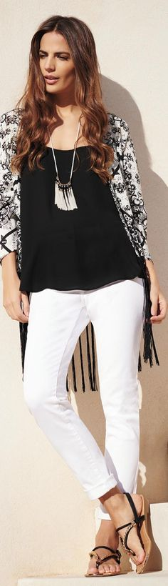 (this necklace & kimono - good for tummies) fringed necklaces are hot for spring & summer - http://www.boomerinas.com/2015/05/04/7-fringe-fashion-trends-for-summer-2015-bags-tops-dresses-shoes-more-its-the-70s-again/