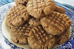 THM Peanut Butter Cookies - 1 cup Peanut Butter, 3 Tbs THM Super Sweet Blend (or 6 Tbs Gentle Sweet or any on plan sweetener of your choice) 3 Tbs Peanut Flour, 2 Tbs Flax Meal, 2 eggs, 1/4 tsp salt, 1 tsp vanilla, 1/2 tsp baking powder, Sprinkle Topping ;1/2 tsp Super Sweet Blend, 1/8 tsp salt.Mix all ingredients well (except for the sprinkle topping) and roll into balls. Flatten in a criss-cross pattern with fork and sprinkle with the sweetener and salt mixture. Bake for 8 mins at 350°