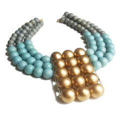 History & Industry Atlantis Bib Necklace: Gray, robin's egg blue, and gold wood beads.