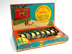 Vintage Noma Christmas lights and box 8 light by agardenofdreams