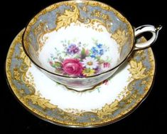 Striking Paragon Yellow Tea Cup and Saucer Pink Rose Floral Center #ParagonEngland