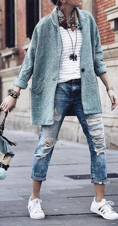 spring outfit idea: coat + top + rips + bag