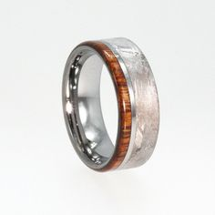 Tungsten Meteorite Wedding Rings with Ironwood wood inlay