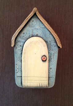 $65.00 Ceramic House Wall Sculpture  © Malena Bisanti-Wall Studio
