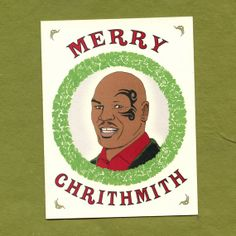 MIKE TYSON CHRISTMAS Card  - Merry Chrithmith - Funny Christmas Card - Original Illustration on Etsy, $4.25