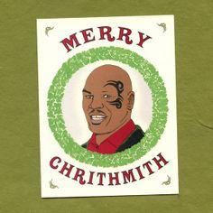 MIKE TYSON CHRISTMAS Card  - Merry Chrithmith - Funny Christmas Card - Original Illustration on Etsy, $4.25