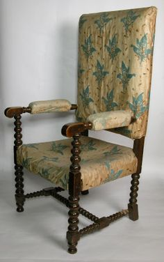 Late 19th century walnut chair with a turned frame, after a 17th century design. Covered with a chintz printed with bunches of Lily of the Valley, and with a silk damask cushion. Used by Ellen Terry in the name part of Nance Oldfield at the Lyceum Theatre - prop furniture. Chintz designed by Nancy Nicholson, daughter of William Nicholson,  Smallhythe Place © National Trust / Andrew Fetherston William Nicholson, Theatre Props, Walnut Chair, National Trust, Lily Of The Valley, Image Collection, 17th Century, Damask, Dining Chairs