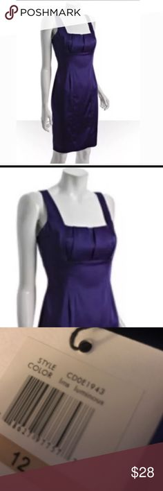 NEW Calvin Klein purple iridescent cocktail  dress Square neckline Pleating in bust area Sleeveless Bra supports in the shoulders Invisible zipper in rear A line design Fully lined bodice 61% Polyester - 35% Nylon -4% Spandex Calvin Klein Dresses