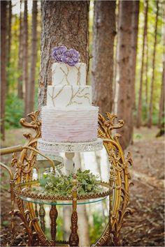 purple and white ruffle wedding cake #weddingcake #cake #weddingchicks http://www.weddingchicks.com/2014/01/27/princess-bride-wedding-inspiration/