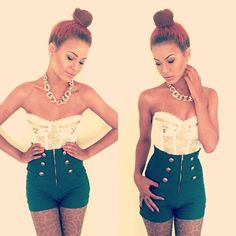 so fricken adorable!! ivory lace corset + turquoise military shorts!