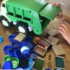 Cardboard Recycling, Cardboard Box Crafts, Infant Activities, Activities For Kids, Activity Ideas, Rubbish Truck, Plastic Milk Bottles, Recycling Center, Green Toys
