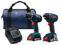 Bosch Power Tools Drill Set - – Cordless Drill Driver/Impact Combo Kit with 2 Batteries, Charger and Soft Carrying Case *** Find out more about the great product at the image link. (This is an affiliate link) Cordless Drill Reviews, Cordless Hammer Drill, Bosch Tools, Driving Jobs, Drill Set, Impact Driver, Drill Driver, Power Tools, Charger