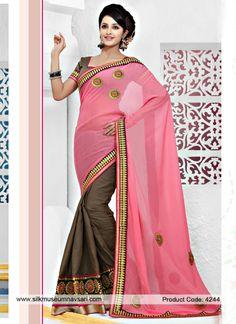 Kasab Pitta Work Brown And Pink Color Saree