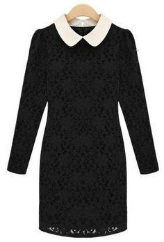 Black Contrast Lapel Long Sleeve Lace Bodycon Dress