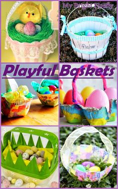 Beautiful Easter Baskets. This collection of playful basket ideas - arts and crafts made by kids or for kids - show and share all the love with them!