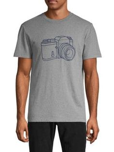 French Connection Camera Graphic Cotton Tee In Medium Grey French Connection, Cotton Tee, Short Sleeves, Grey, Mens Tops, Shopping, Medium, Gray, Medium Long Hairstyles