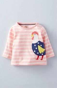 Mini Boden 'Farm Friends' Stripe Long Sleeve Tee (Baby Girls & Toddler Girls)