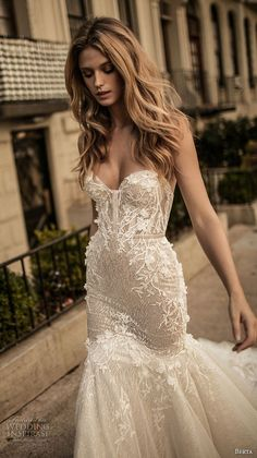 berta fall 2017 bridal strapless sweetheart neckline bustier heavily embellished bodice romantic sexy mermaid wedding dress long train (007) zv