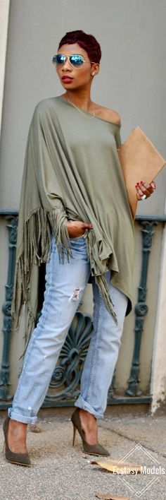 Fringe Poncho // Fashion Look by Lashoundra Young