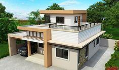 Plano de casa de dos pisos con terraza