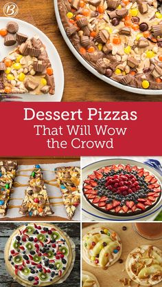 - Dessert Pizzas That Will Wow the Crowd Bring something different to the dessert table with these irresistible sweet pizzas. Loaded with fruit, candy or even both, fruit pizzas make for an unexpected dessert that everyone will love! Cookie Pizza, Candy Pizza, Kinds Of Desserts, Summer Desserts, Pizza Croissant, Sweet Pizza, Breakfast Recipes, Dessert Recipes, Delicious Desserts