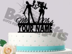 The Joker and Harley Quinn Love Cuffs Mr Mrs Personalized Wedding Cake Topper