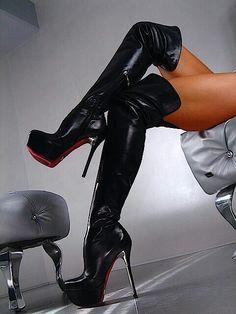 Spike heel over the knee platform boots