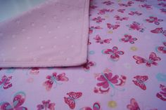 Baby Travel Diaper Changing Pad Travel - Folds to Fit in Purse or Diaper Bag Soft Minky Star Fabric Pastel Pink Butterflies by PurpleLadybugGifts on Etsy