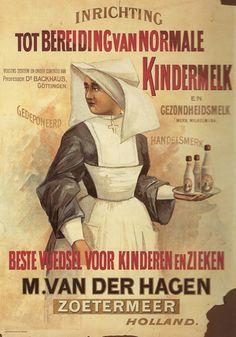Dit is een affiche uit 1895 voor het bedrijf M. van der Hagen, Zoetermeer; het latere Nutricia. #ThrowbackThursday (bron Alles van Melk)