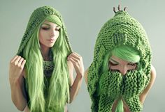 Cactuar Hood Details by *Archaical on deviantART::a hood with mittens for her little sis:)
