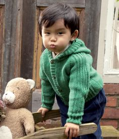 Children's Hooded Stocking Stitch Cardigan Knitting Pattern