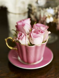 Pink Rosebuds in a Fluted Pink Tea Cup with Saucer ~ Andrew Montgomery, photographer ....
