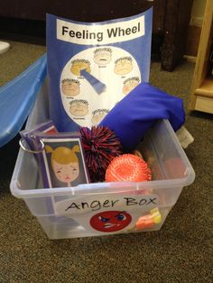 The Anger Box.  Box filled with for example: a feeling wheel, emotion cards, squishy things, bubbles, pin wheel, beeds and string, newspaper to tear... whatever might help a kid manage his emotions.   GREAT idea.