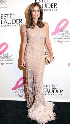 Elizabeth Hurley in Blumarine — Estee Lauder's Pink Illumination Ball.celebrities match it perfectly. Milan Fashion, Spring Fashion, Fushia Dress, Versace Dress, Elizabeth Hurley, Affordable Dresses, Hollywood Fashion, Estee Lauder