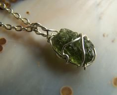Moldavite necklace pendant  Sterling Silver wire by CoyoteRainbow