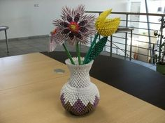 3d origami flower vase 3d origami vase with flowers 3d origami 3d origami round vase how to make mightylinksfo