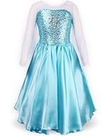 ReliBeauty Little Girl's Princess Elsa Fancy Dress Costume, 7, Sky Blue