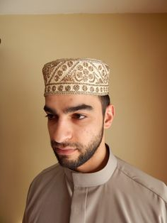 de30aed83d3 Vintage Pakistani Men s Emroidered Kufi Hat Fez by SlyfieldandSime Gold  Embroidery