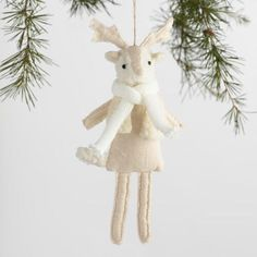 One of my favorite discoveries at WorldMarket.com: Fabric Woolly Deer and Fox Ornaments Set of 2