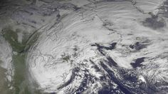 This satellite image taken Oct. 30, 2012, shows superstorm Sandy slowly moving westward while weakening across southern Pennsylvania. (NOAA/Associated Press)