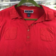 Red Karen Scott short sleeved top, XL Red cuffed short sleeved top with red and gold buttons. 100% cotton. Karen Scott Tops