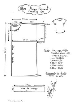 Resultado de imagem para molde de vestido plussize gratis com manga japonesa Dress Sewing Patterns, Blouse Patterns, Sewing Patterns Free, Clothing Patterns, Sewing Hacks, Sewing Tutorials, Sewing Projects, Sewing Blouses, Diy Tops