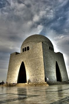 Mausoleum of Quaid-e-Azam, Pakistan. Mazar-e-Quaid, also known as the Jinnah Mausoleum or the National Mausoleum, is the final resting place of Quaid-e-Azam (Great Leader). The monumental tomb of Muhammad Ali Jinnah, is situated on a natural plateau within a 53 hectare park in the city of Karachi, Pakistan. (V)