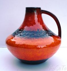Handled Jug designed by Gerda Heuckeroth for Carstens Tonnieshof, West Germany.Heuckeroth joined Carstens in 1964, establishing the very successful Atelier (Studio) range. She subsequently set up her own studio in Hamburg. www.anseta.com